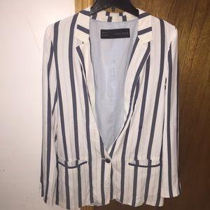 Zara blue and white striped blazer Sz M